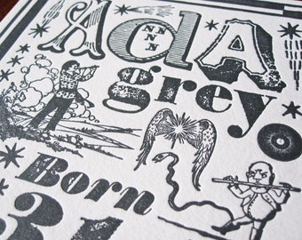 Bohemian Mix Custom Letterpress Birth Announcement