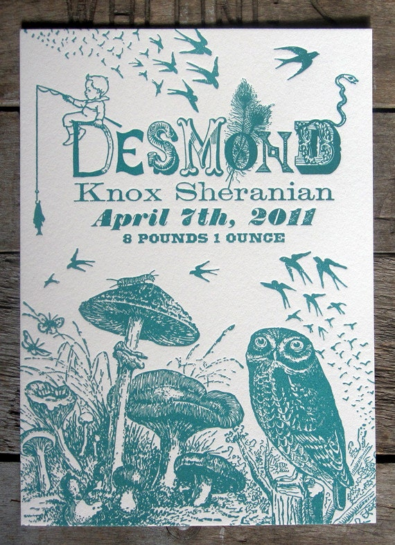 One of a Kind Custom Designed Letterpress Printed Birth Announcements Mushrooms & Owl Theme