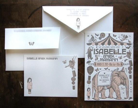 Custom Design Letterpress Birth Announcement & Thank You Card Suite Vintage Circus Theme