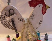 Large  Vintage Rooster Sewing Caddy - Folk Art Style