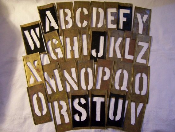 vintage brass stencil letters two letters your choice