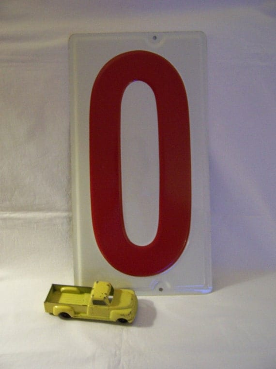 Vintage Metal Red Number Zero - Gas Station Price Sign