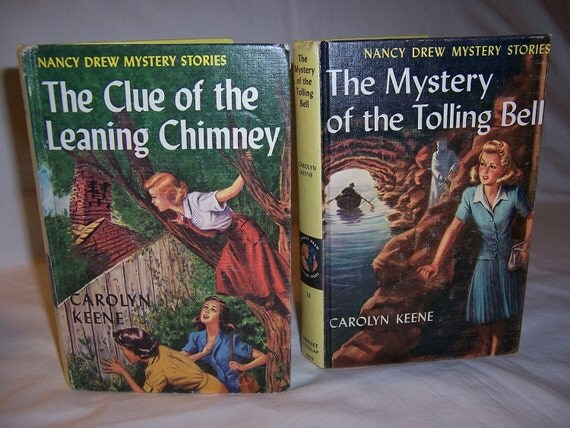 Vintage 1940's Nancy Drew Books -  Clue of the Leaning Chimney - Mystery of the Tolling Bell