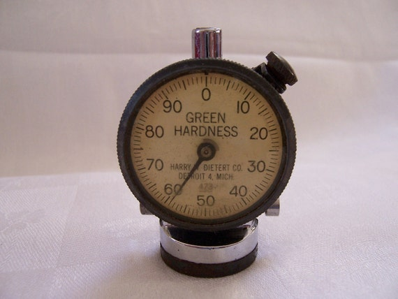 RESERVED LISTING for Ruth - Small Vintage Industrial Gauge - Machinist - Green Hardness - Michigan