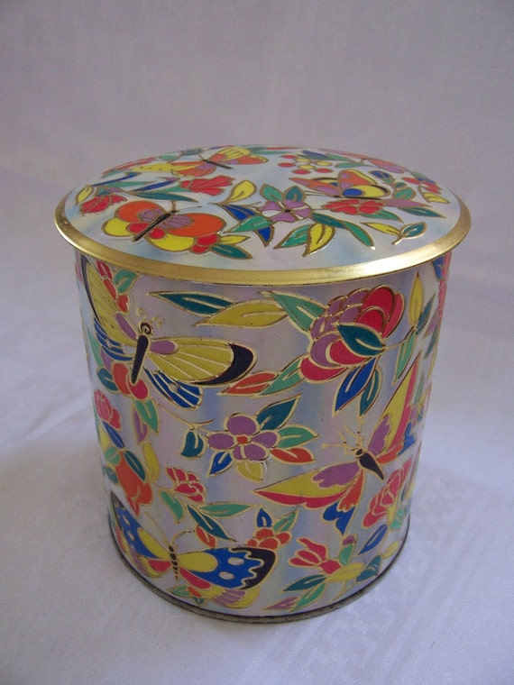 Vintage  Floral Butterfly Tin - Made in England