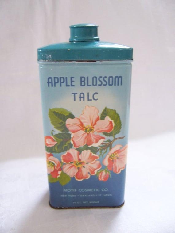 Vintage Apple Blossom Talc Powder Tin - Motif Cosmetic Co. - Shabby Chic