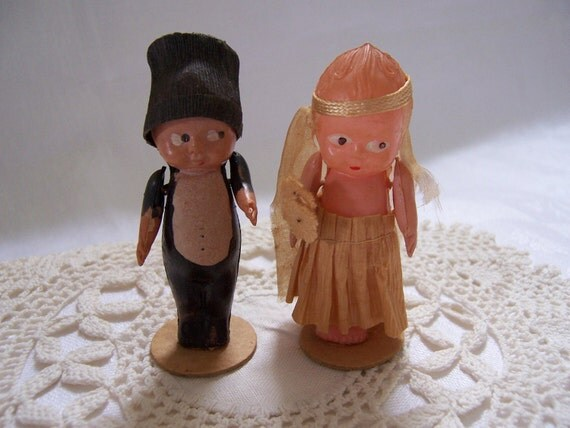 Small Vintage 1920's - 1930's Celluloid Wedding Topper - Japan