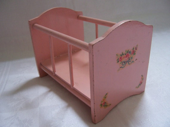 Small Vintage Pink Wooden Doll Crib - Shabby Chic