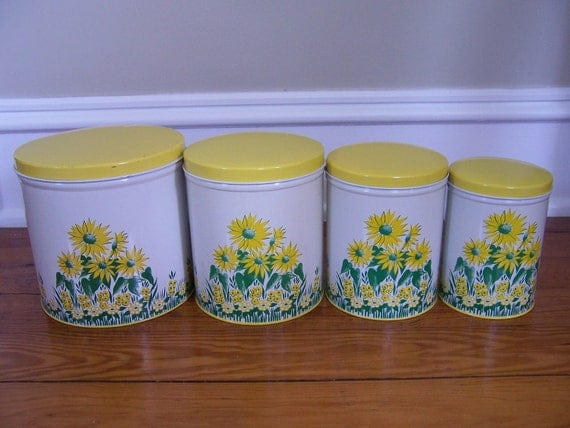 Vintage Metal Yellow Flowered Canister Set - Sunflowers