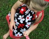 READY to SHIP! Pillowcase Dress, Michael Miller, Black, White, Red, Lil Plain Jane, Daisies, Polka Dots, Mod