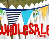 WHOLESALE  LOT OF 6- Eco-Friendly Reusable Fabric Bunting, Banner, Photo Prop, Decoration - lot available to resellers with tax id only