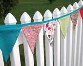 READY to SHIP! Reusable Fabric Bunting, Banner, Pennant, Flag, Garland, Photo Prop, Decoration in Alphabet Soup, Girls, Pink, Turquoise