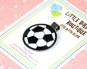 BUY 4 GET 1 FREE- Baby Toddler Hair Clip Soccer Ball Sport Game Girl Black and White