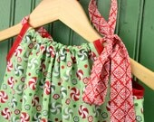 Pillowcase Dress in Kate Spain Flurry Peppermint Swirl and Glitter in Red Ribbon