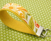 BUY 4 GET 1 FREE- Keychain Wristlet- Key Fob in Central Park Yellow Green