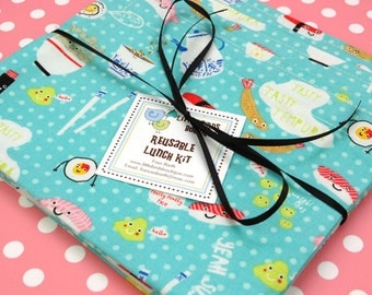 Reusable Sandwich and Snack Sack Kit in Sushi Aqua on Dots for Timeless Treasures Picnic Time