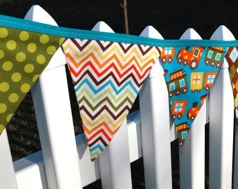 READY to SHIP! Reusable Fabric Bunting, Banner, Pennant, Flag, Photo Prop, Decoration, Remix, Brown, Orange, Green, Train, Helicopter, Cars