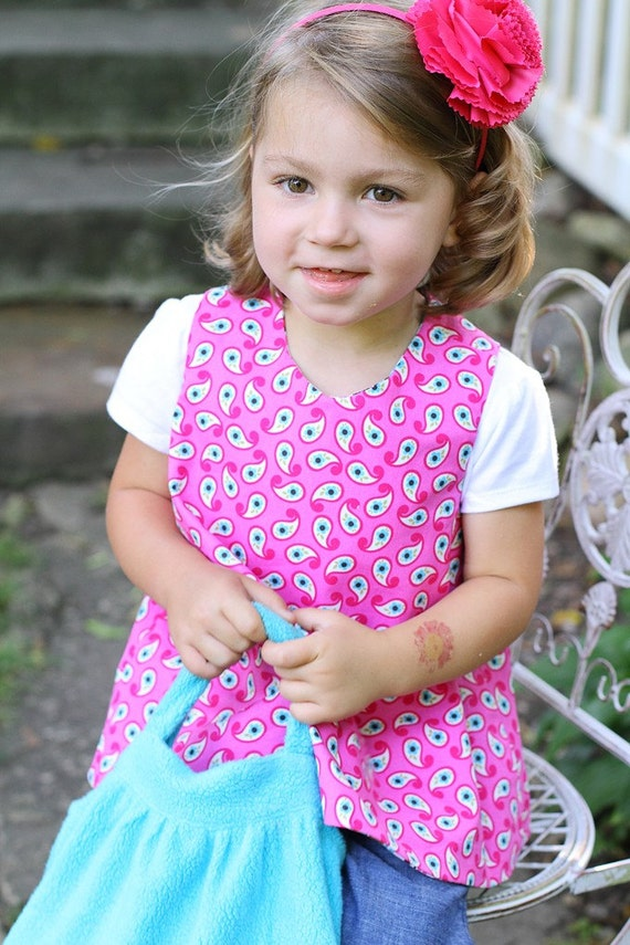Pinafore REVERSIBLE in Michael Miller Big E Emmaline Toffee Floral Fabric