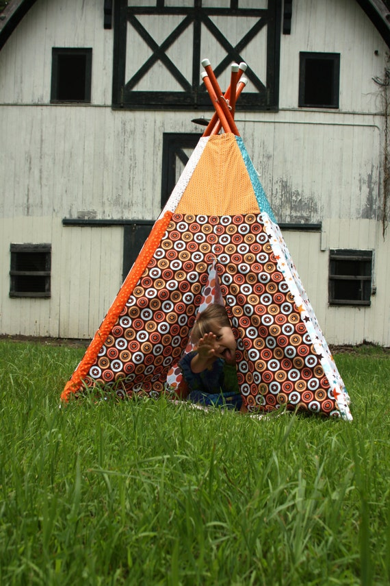 Child Toddler Kid's Play Teepee/Tent Hideaway in All Star 2 Fabric by Riley Blake