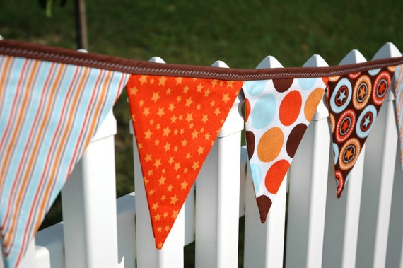 Eco-Friendly Reusable Fabric Bunting, Banner, Pennant, Flag, Garland, Photo Prop, Decoration in All Star Orange Brown Riley Blake