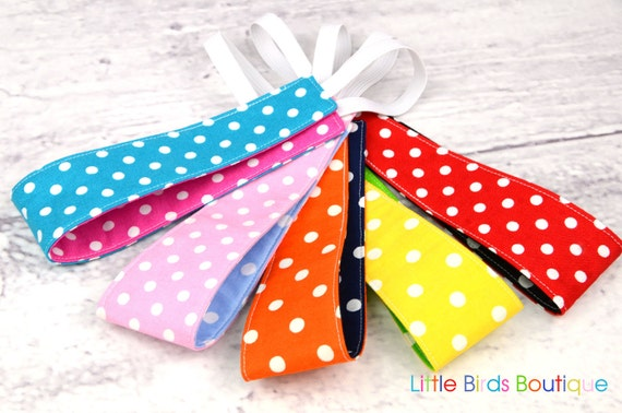 Set of 5 Reversible Headband- Children Toddler in 10 Different Polka Dot Colors
