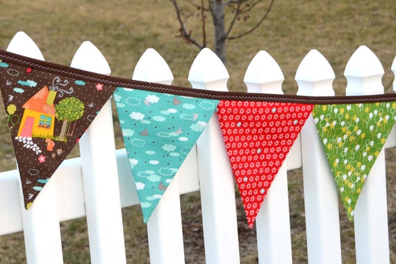 Eco-Friendly Reusable Fabric Bunting, Banner, Pennant, Flag, Garland, Photo Prop, Decoration in Anthology Woodlands