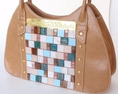 Mocha Brown Tote with Rock Candy Mosaic Design