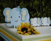 Elephant CAKE TOPPER SET with  Mommy and Twin babies