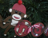 "Sock Monkey ""Happy 1st Birthday"" BANNER in Brown and Red"