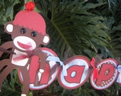 "Sock Monkey  ""Happy 1st Birthday"" BANNER in Red and Blue and Brown"