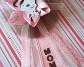 "Puppy Baby Shower ""Mommy"" CORSAGE in Pink and Brown"