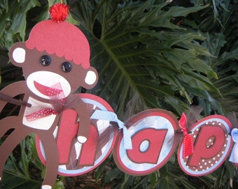 """Sock Monkey  """"Happy 1st Birthday"""" BANNER in Red and Blue and Brown"""