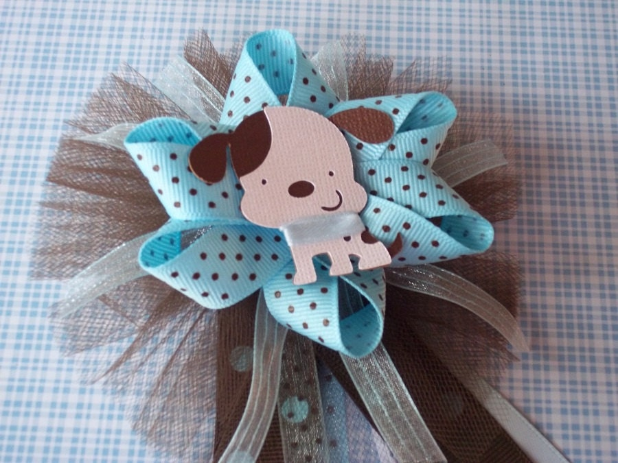 puppy baby shower mommy corsage in brown and blue by partyhoppers