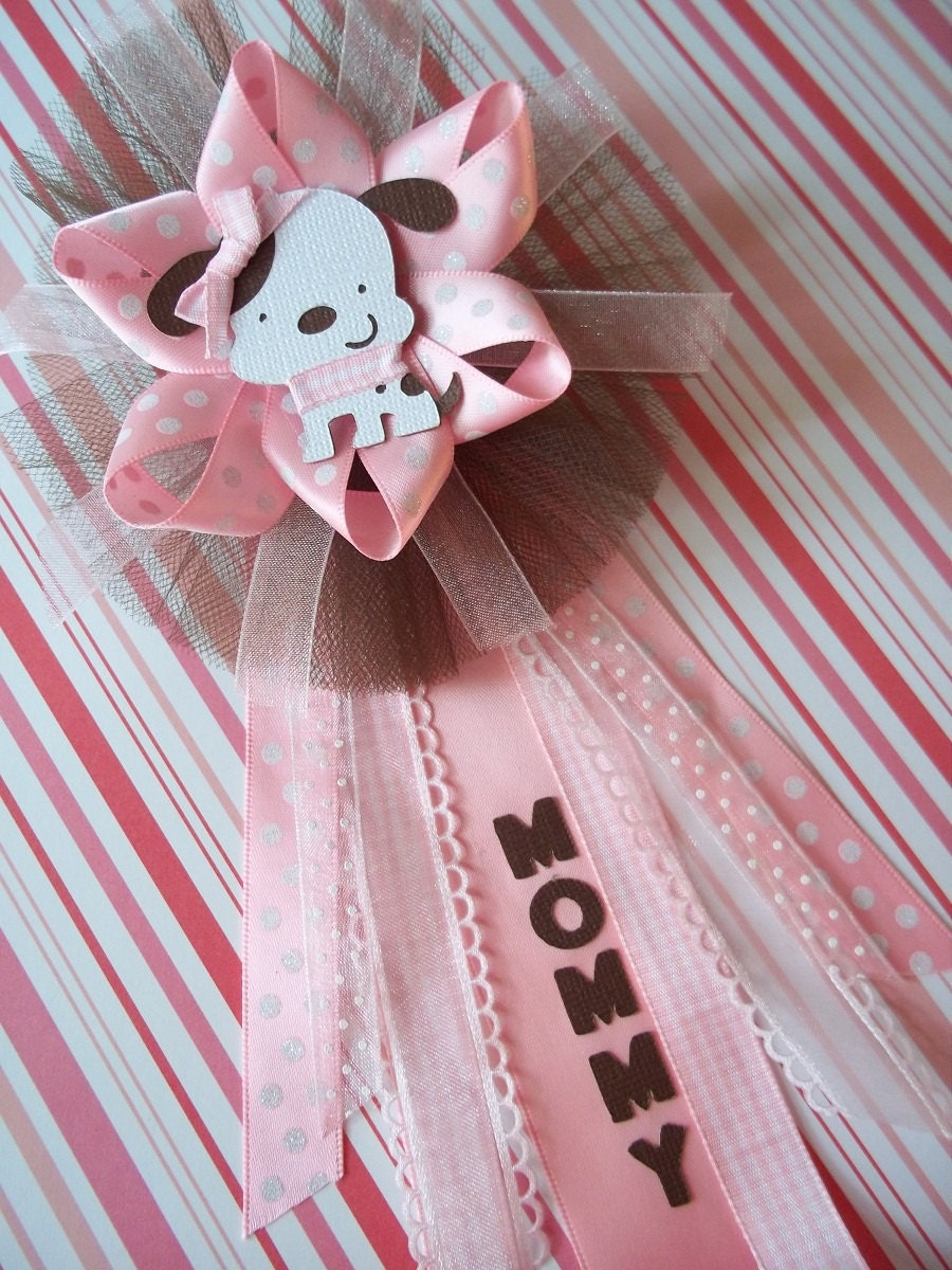 puppy baby shower mommy corsage in pink and brown