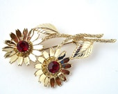 Vintage Sunflower Brooch with Red Rhinestones