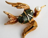 Vintage Big-Eyed Bird Brooch - Green stone, Faux Pearl and Gold Toned Metal - 1960s or 1970s era