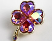 Weiss Pink Hearts and Clover Brooch - Designer Signed - Vintage
