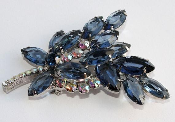 DeLizza & Elster Juliana Blue Rhinestone Floral Brooch