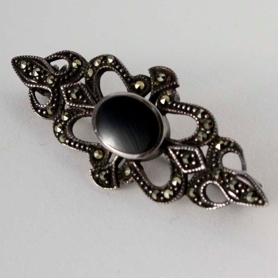 Sterling Silver and Marcasite Bar Brooch with Black Cabochon