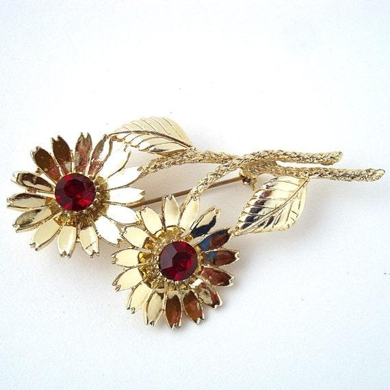 Vintage Sunflower Brooch with Red Rhinestones