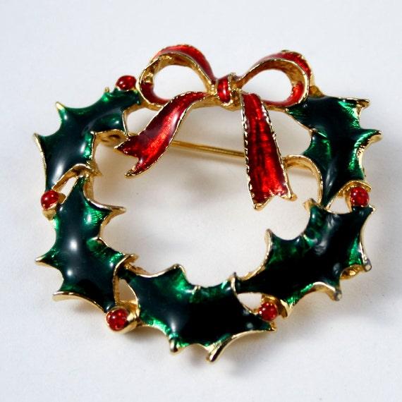 Eisenberg Ice Christmas Wreath Enamel Brooch Vintage