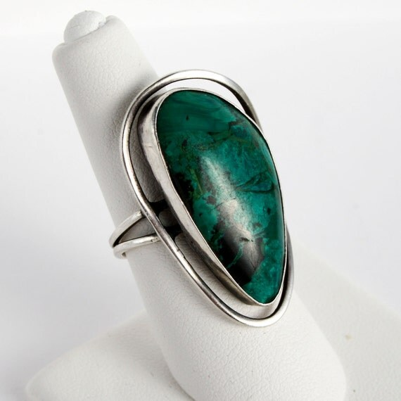 RESERVE for Candy - Vintage Sterling and Israeli Turquoise / Eliat Stone Ring - Modern design