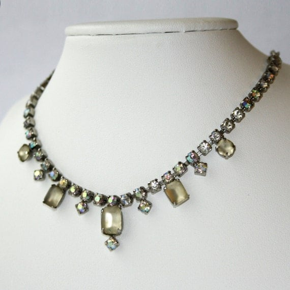 Frosted Glass Rhinestone Necklace - For UpCycle or Repair