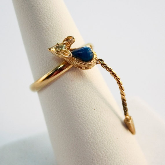 Vintage Mouse Ring - Blue Lapis or Sodalite Stone - Articulated Tail