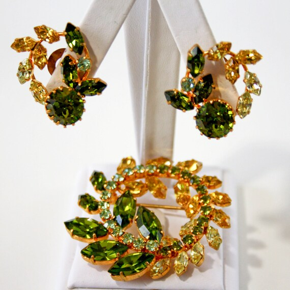 RESERVE FOR Our Boudoir - Vintage Peridot and Jonquil Rhinestone Wreath Set - Brooch and Earrings - Made in Austria