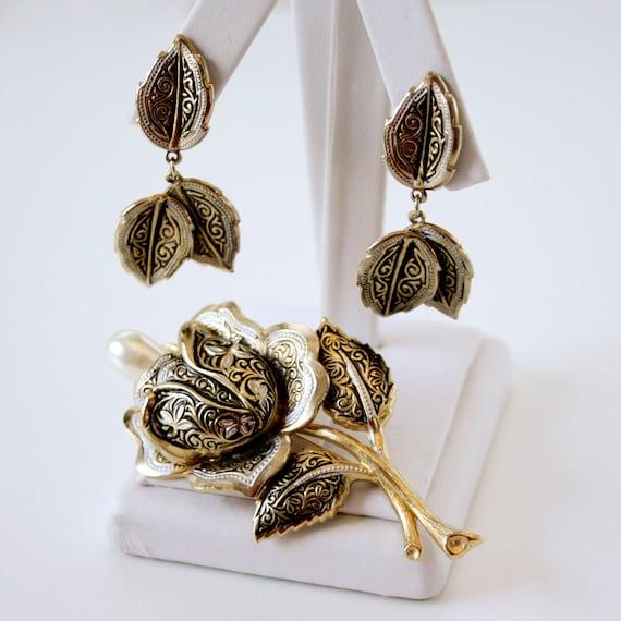 Vintage Damascene Rose Brooch and Earring Set - SPAIN