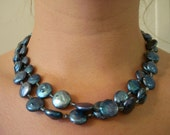Ocean Blue Formal Pearl Set - Double Strand Necklace and Earrings (1049S)
