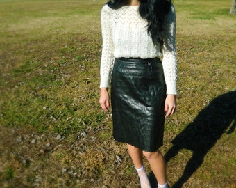 Vintage Versace high waisted textured leather pencil skirt