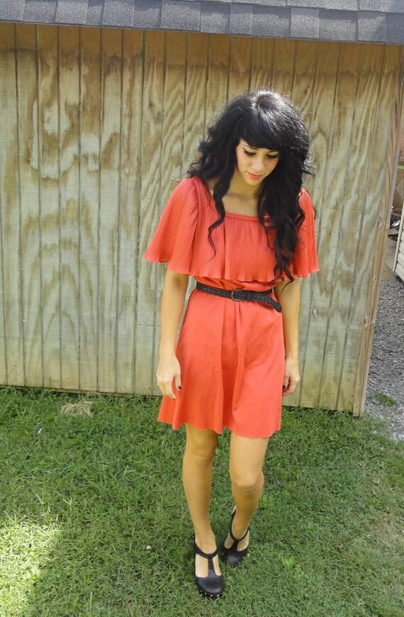 20% OFF SALE Vintage 70s orange pleated cape dress