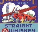Vintage Airport Whiskey Label 1930's Boston Mass